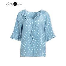 V neck lotus leaf sleeve polka dot printed silk short t shirt