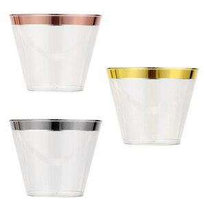 Image 3 - Одноразовые пластиковые бокалы для вина 9 унций, розовое золото, искусственные бокалы для вина, чашки для мусса, торта, роскошные бокалы для свадьбы, Рождества, вечеринки, 50 шт.