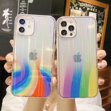 Glitter Gradient Marble Case For iPhone 12 11 Pro XS Max 12 Mini SE 2020 X XR 7 8 Plus Case Transparent Rainbow Clear Cover Capa