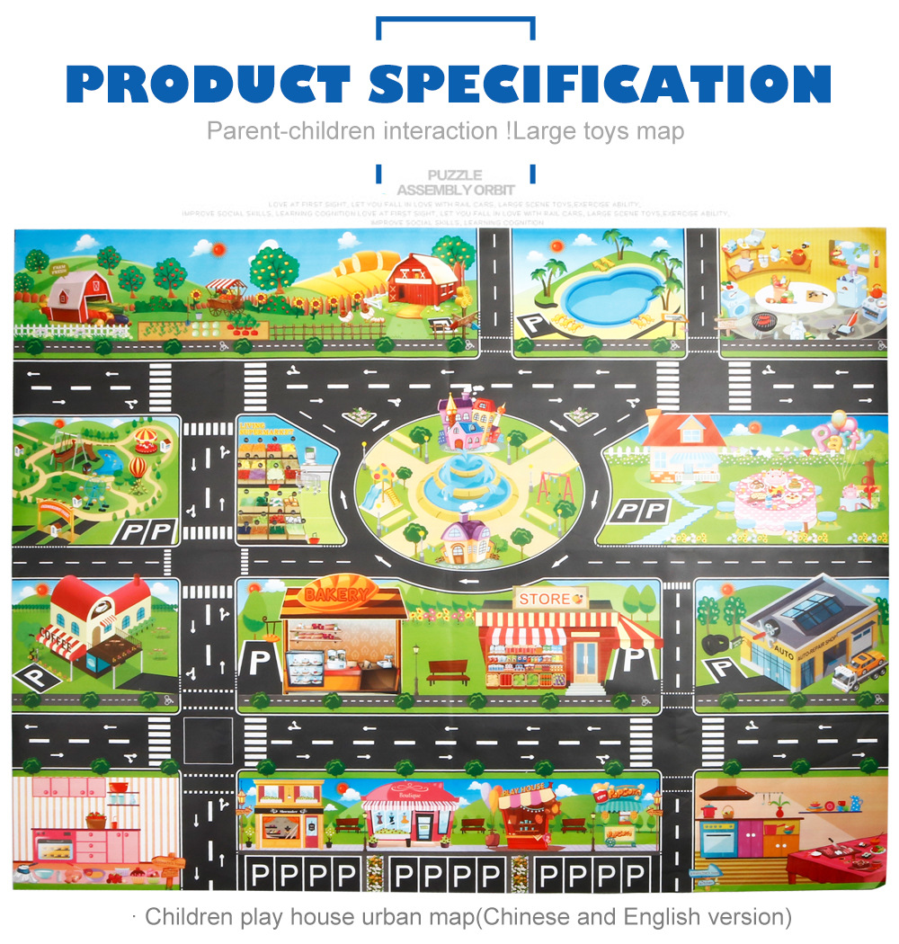 H26abcef8e6ef4939be515acf43b15f49W Large City Traffic Car Park Mat Play Kids Rug Developing Baby Crawling Mat Play Game Mat Toys Children Mat Playmat Puzzles GYH