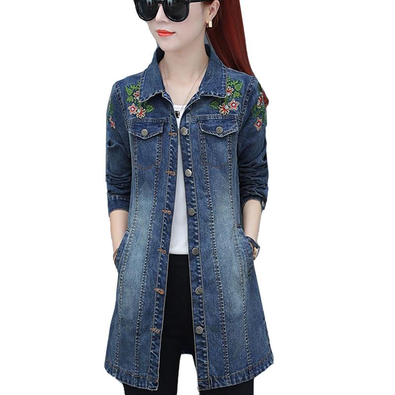 2020 Autumn Women Jackets Embroidery Denim Jacket Loose Casual Jeans Jacket Women Coat Outwear Female Jacket Plus Size 5XL P327