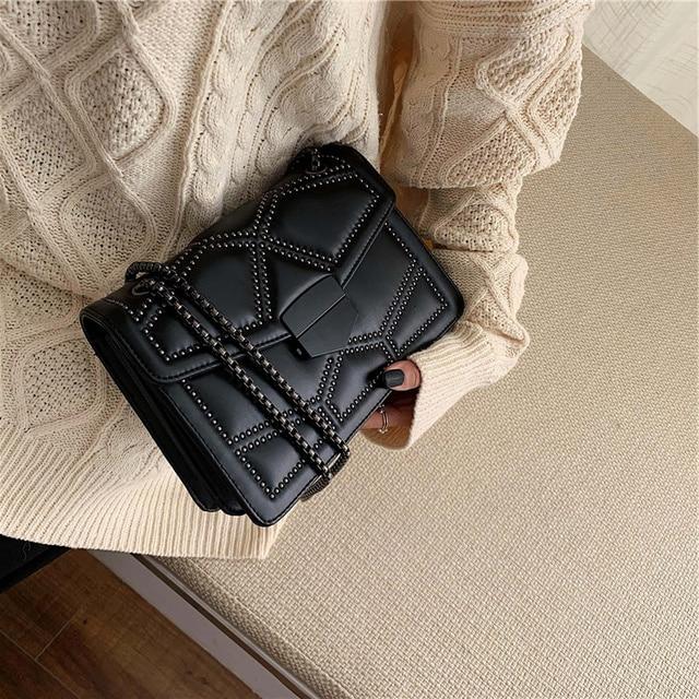 Rivet Chain Brand Designer PU Leather Crossbody Bags For Women 2021 Simple Fashion Shoulder Bag Lady Luxury Small Handbags 4