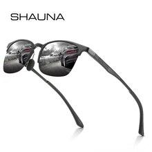 SHAUNA Retro Vintage Men Square Polarized Sunglasses Classic