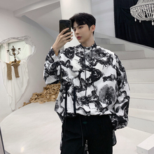 2019 Chinese Ink Dragon Shirt Pattern Easy Man Long Thin Sleeve hawaiian Two Color Single Breasted Cartoon Japan Style Black