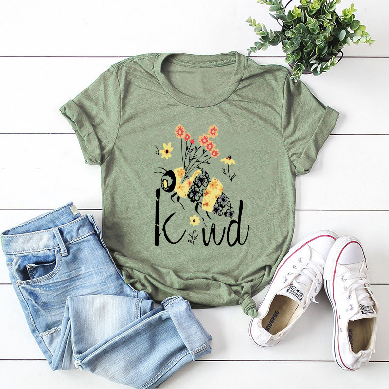Plus Size S-5XL Be Kind BeePrint 100%Cotton T Shirt Women Shirts O Neck Short Sleeve Summer Women TShirt Tops  Funny T Shirts
