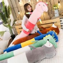 Karikatür hayvanlar peluş oyuncak dolması silindirik yuvarlak Bolster Beg yastıklar kurbağa Unicorn dinozor kirpi uyku oyuncaklar çocuklar hediye