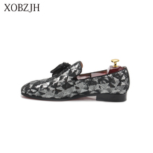 XOBZJH Fashion Business Dress Men Shoes 2019 New Sequin Cloth MenS Suits Wedding Party Slip On Work Gray Big Size