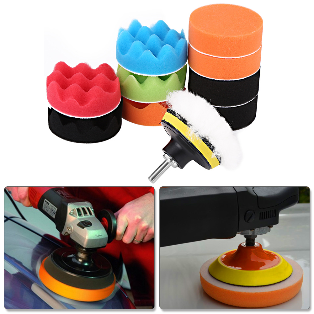 12Pcs 3 Inch Polishing Buffing Pad Kit For Auto Car Polishing Wheel Kit Buffer With Drill Adapter Car Removes Scratches