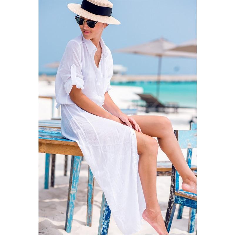 2019 Sexy Chiffon Beach Cover Up Bikini Swimwear Women Cover Up Beach Dress Shirt Long Tunics Bathing Suits Cover-Ups Beachwear