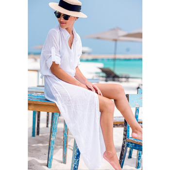 2019 Sexy Chiffon Beach Cover Up Bikini Swimwear Women Cover Up Beach Dress Shirt Long Tunics Bathing Suits Cover-Ups Beachwear