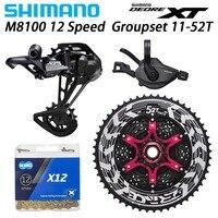 SHIMANO DEORE XT M8100 12 speed Groupset MTB Mountain Bike 12 Speed 52T SL+RD+ZRACE+X12 M8100 shifter Rear Derailleur bike kit