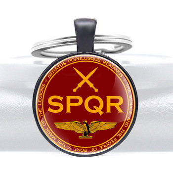 Classic Fashion SPQR Ancient Rome Glass Dome Key Chains Charm Men Women Key Ring Keyfob Jewelry Gift image