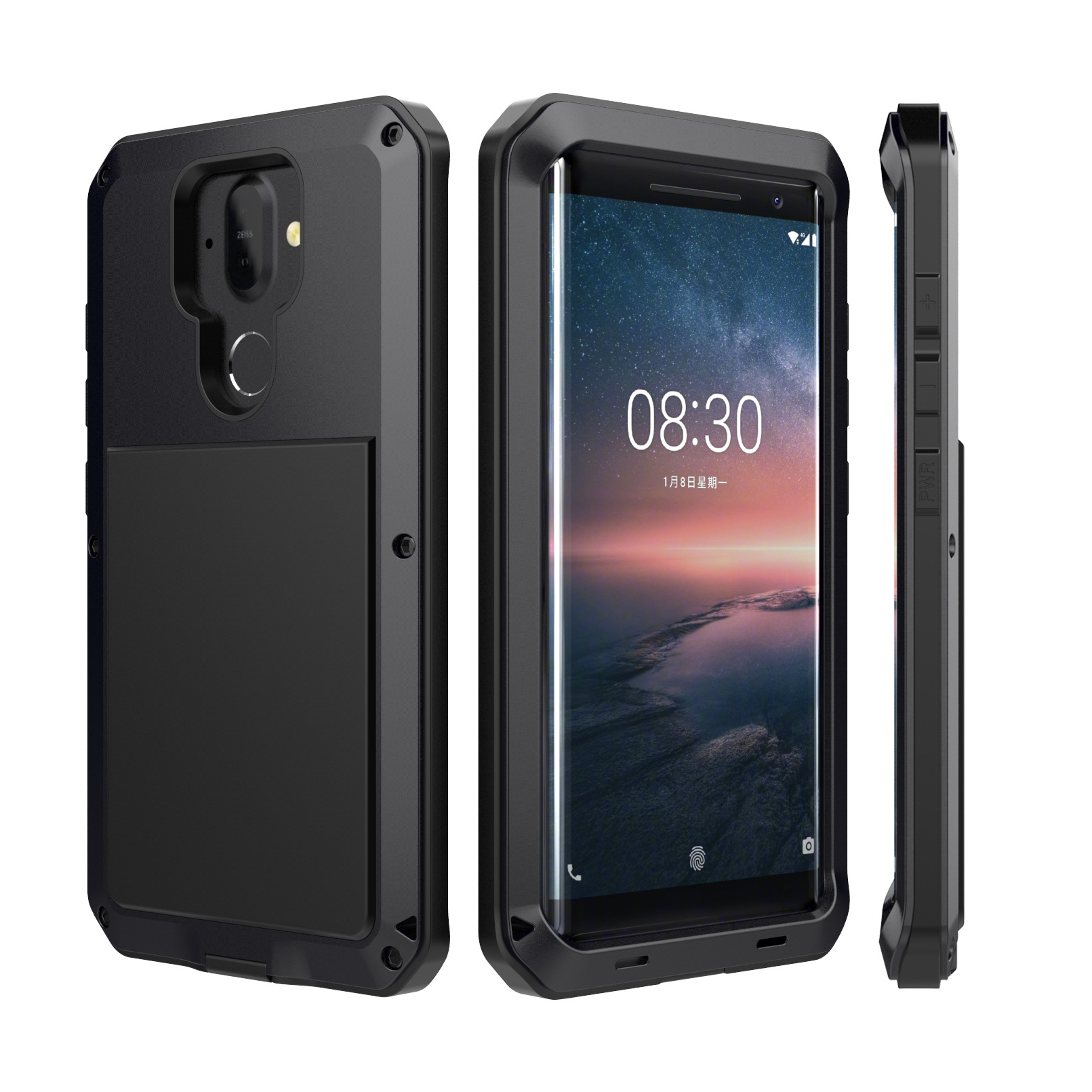 Hybrid Tank 360 Full Protection Case For Nokia 8 Sirocco Aluminum Metal Silicone Shockproof Protection Case Cover