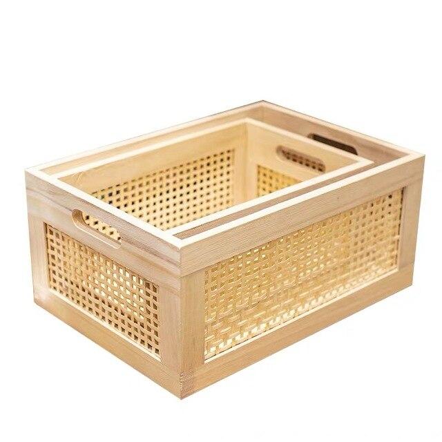 나무 스토리지 박스 실용적인 수제 기본 컬러 데스크탑 장식 의류 보관 바구니 주방 인테리어 가정 용품