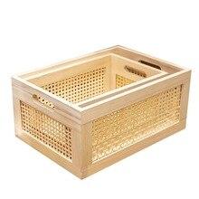 Caja de almacenamiento de madera, práctica cesta de almacenamiento de ropa decorativa de escritorio de color primario hecha a mano, artículos para el hogar
