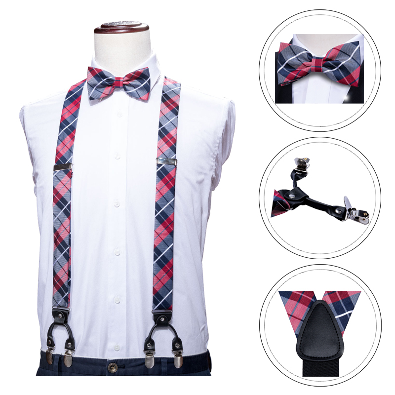 Barry.Wang Men Silk Suspenders Set Leather Metal 6 Clips Braces Black Plaid Vintage Elastic Wedding Suspenders Checked Bowtie