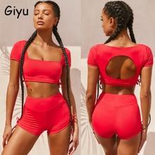 Giyu Sexy Tracksuit 2 Piece Set Women 2020 Summer Casual Lace Up Crop T