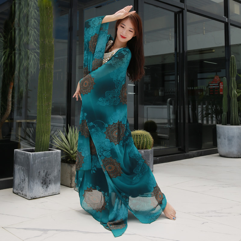 New 2019 Women Dance Wear Belly Dance Clothes Beaded Kaftan Dress Chiffon Traditional Khaleeji Thobe Dresses Tie-dyed Pattern
