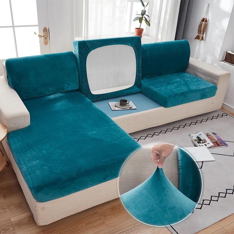 Capa de almofada de sofá de veludo grosso cor sólida proteção elástica capa de almofada para sala de estar 1/2/3/4 seater sofás caso