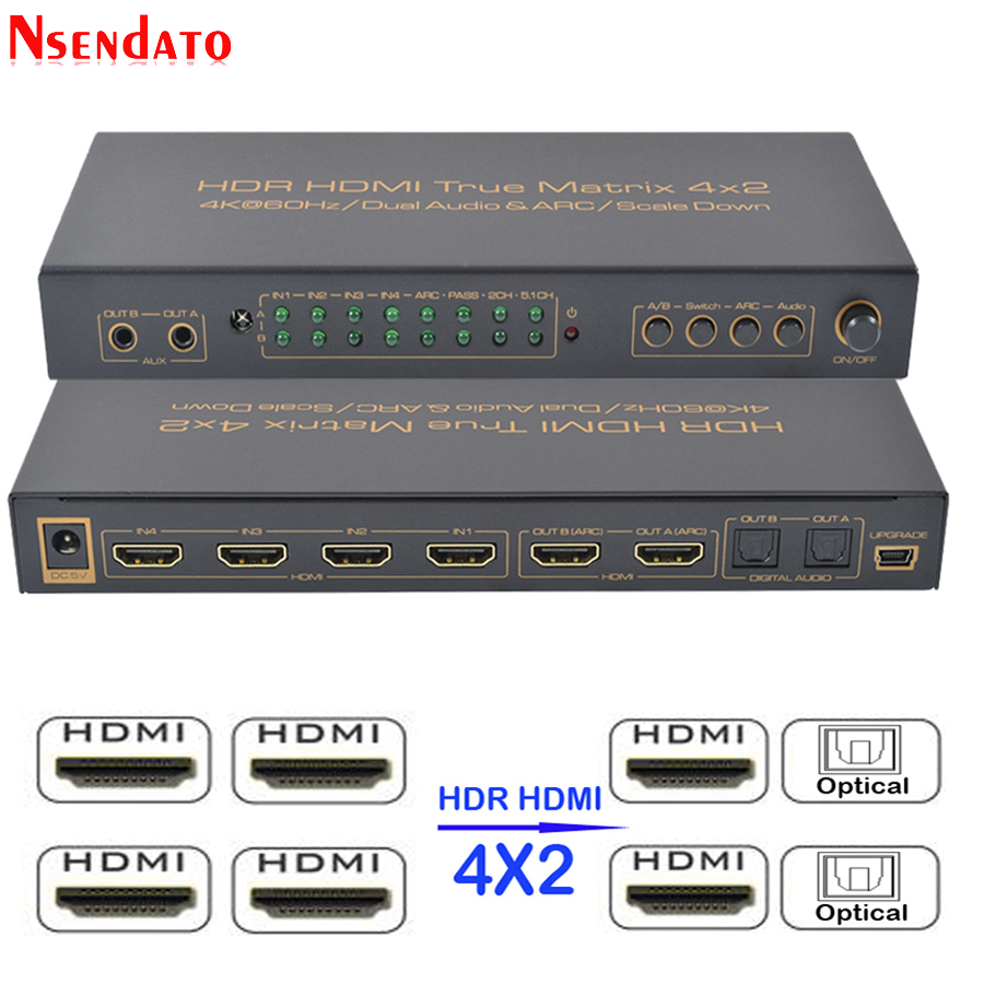 4x2 HDR HDMI Matrix Switch 4K 60Hz 4 In 2 Out HDMI Splitter Switcher Audio Extractor ARC AUX SPDIF Scale Down For PS3 PS4 TV DVD