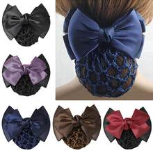 Pro Bow Barrette Hair Clip Cover Bowknot Bun Snood Hairnet Hair Accessory Satin Bow Barrette Hair Clip Cover For Women Girls(China)