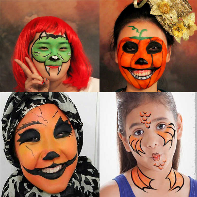 12 Colors Body Painting Easy To Color Makeup Prop Halloween Festival Clown Cosplay Paint Suitable Kids Painting Colors Palette Aliexpress
