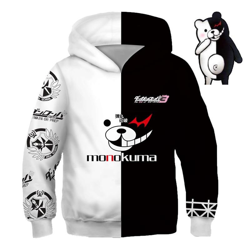 Kids Anime Sweatshirts Hoodies Dangan Ronpa Danganronpa Monokuma White Black Bear Cosplay Costume College Clothing Top New