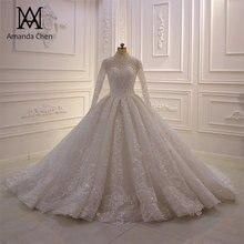 Abito דה sposa גבוהה צוואר תחרת Applique חתונת שמלה ארוך שרוול