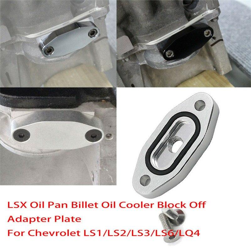 Oil Port Adapter Cooler Block Off Plate For LS1 LS LSX Gasket Pan Silver S