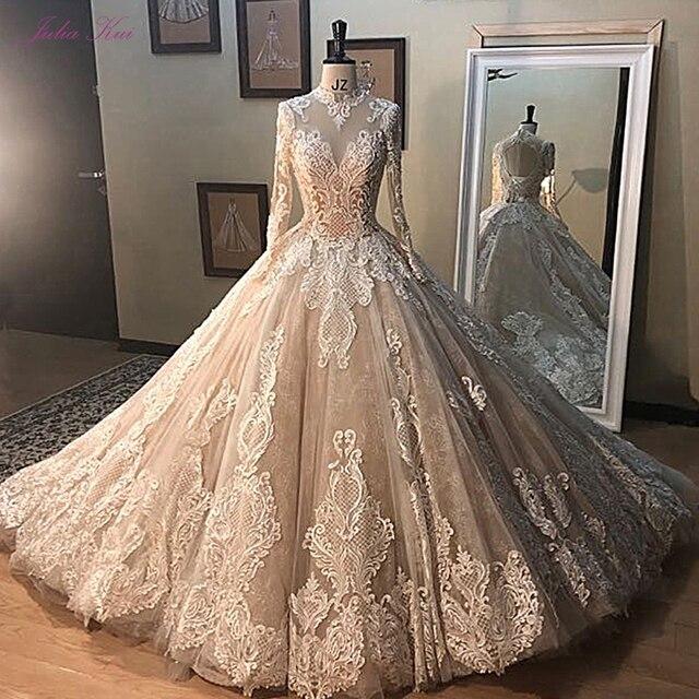 جوليا كوي رائع الشمبانيا الكرة ثوب الزفاف مع كم طويل أنيق الزفاف الدانتيل فستان الزفاف