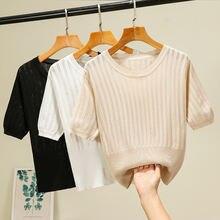 Женская футболка с коротким рукавом Повседневная тонкая Однотонная
