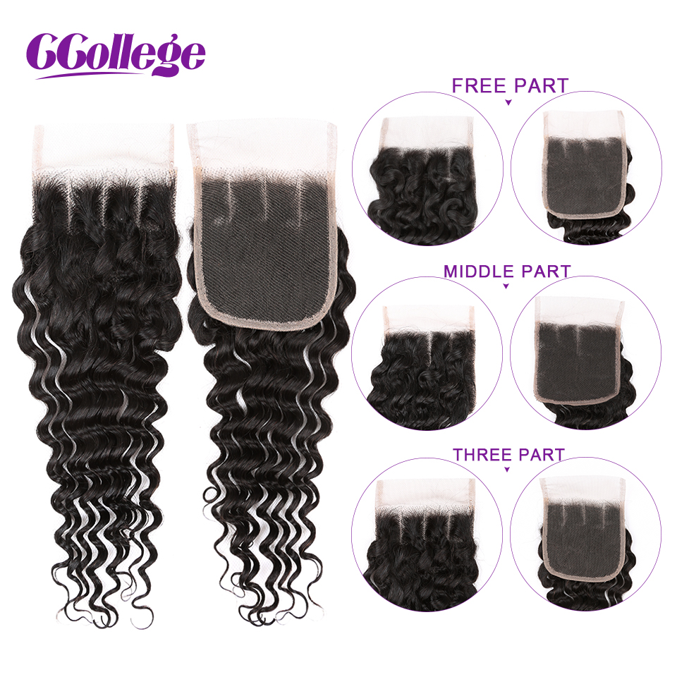 Ccollege Hair Weave Brazilian Deep Wave Bundles With Closure 3 4 Pieces Human Hair Bundles With Closure Non Remy Hair Extension in 3 4 Bundles with Closure from Hair Extensions Wigs