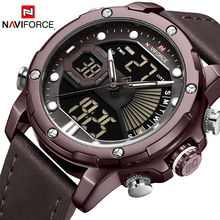 цена на NAVIFORCE Brand Men Chronograph Military Watches Men's Quartz Date Clock Man Leather Strap Sports Wrist Watch Relogio Masculino