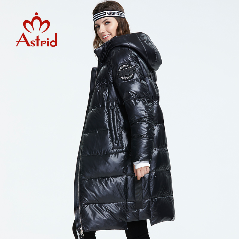 Astrid 2019 Winter New Arrival Down Jacket Women With A Hood Fashion Style Color Black Long Winter For Women AR-3037