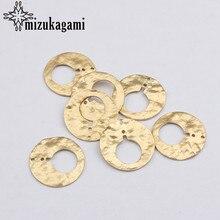 23mm 6 unids/lote de aleación de Zinc de oro encantos de círculo redondo hueco de forma redonda conector encantos para collar pendiente Accesorios