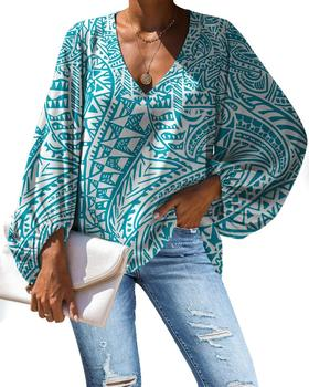 Polynesian Traditional Tribal style Print Ladies Blouses Fashion Plus Size Shirts For Women Long Sleeve Chiffon