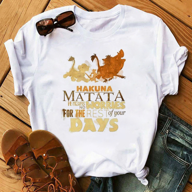 2019 Men And Women Couples Large Size T-shirt Europe And America Cartoon <font><b>Lion</b></font> <font><b>King</b></font> <font><b>Hakuna</b></font> <font><b>Matata</b></font> Printing Short-sleeved T-shirt image
