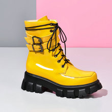 Black White Yellow Red Fashion Women Boots Thick-soled High
