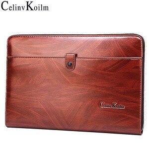 Image 1 - Celinv Koilm erkekler el çantası büyük kapasiteli erkekler büyük cüzdan telefon Passcard cep yüksek kaliteli çok fonksiyonlu patron çanta erkekler için