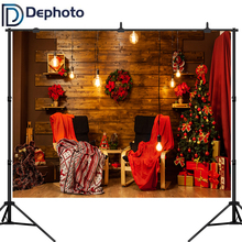 Dephoto Wooden Boards Wall Christmas Wreath Scene Photography Backgrounds Vinyl New Year Home Decoration Photo Studio Backdrops