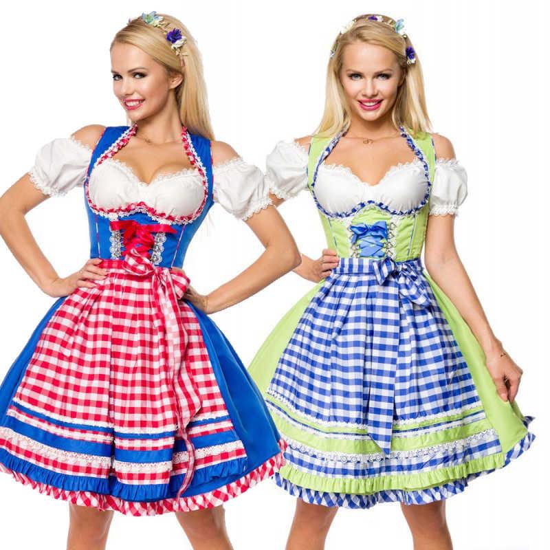 Du Femmes Strass Tulle Dentelle Tablier Midi Robe Oktoberfest Costume Traditionnel Rose Vert