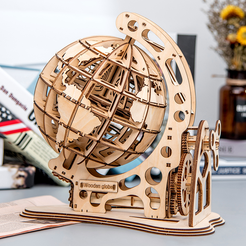 Laser Cutting 3D Puzzle Globe DIY Mechanical Drive Model Transmission Gear Rotate Assembling Home Decoration Toys Adults Child