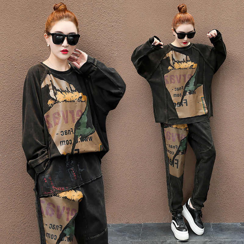 Runway TWEEDELIGE SET Mode Luxe Trainingspak Vrouwen Vintage Print Koreaanse Kleding Leisure Suit Sweatsuit Tops Broek Hip Hop CHic