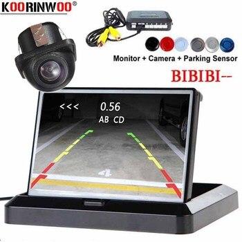 Koorinwoo Car Parktronic Dash Camera Rear Parking sensors LCD Screen Fold Alert Step up Speaker Security Camera Radar Black Grey