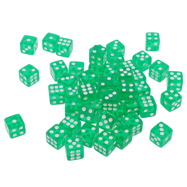 50X 6 Sided Dice D6 Polyhedral Dice 12mm For Dungeons And Dragons Green New