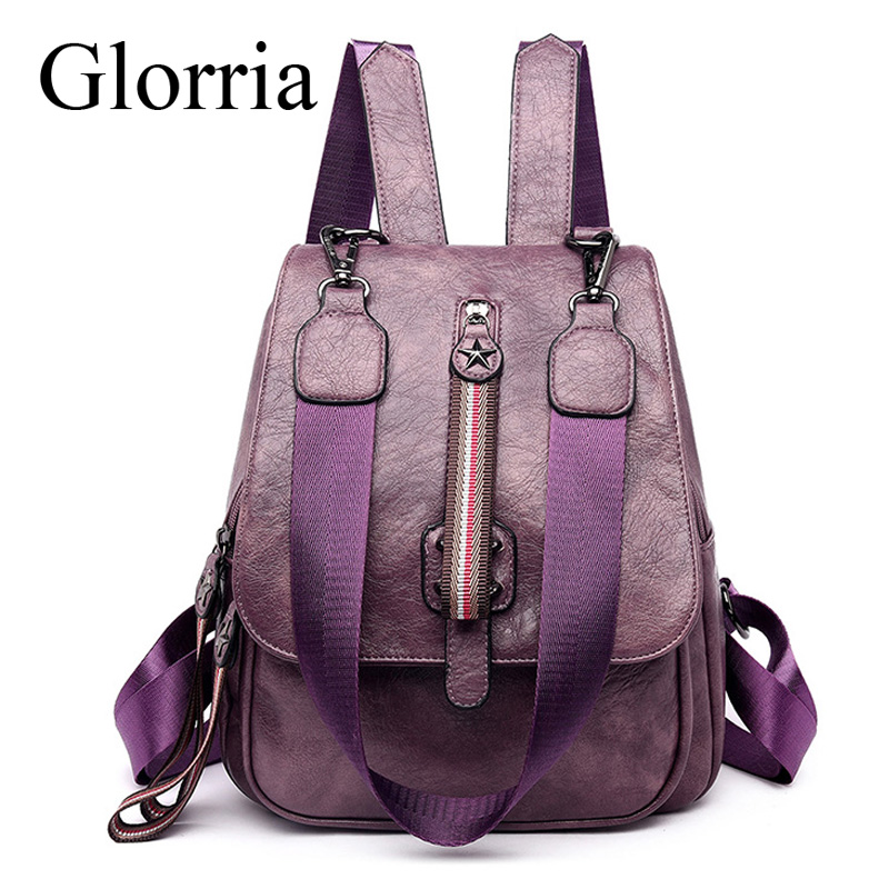 Glorria Women Multifunctional Backpack Female Leather Shoulder Bags School Bags For Women 2019 Travel Back Pack Sac A Dos Femme