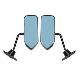 Image 4 - Левое + правое боковое зеркало из углеродного волокна в стиле F1 с синей зеркальной поверхностью и треугольником