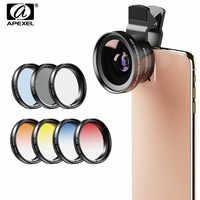APEXEL 9in1 telefon objektiv Gradienten Filter kit 0.45x breit 37mm UV Grad Blau Rot + CPL ND32 Filter für iPhone Xiaomi alle Smartphone