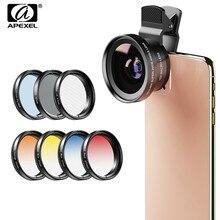 Apexel 9in1 전화 렌즈 그라디언트 필터 키트 0.45x 와이드 37mm uv grad 블루 레드 + cpl nd32 필터 for iphone xiaomi 모든 스마트 폰