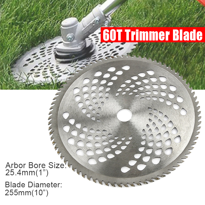 Durable 10 Inch Carbide Trimmer Blade 60T Lawn Mower Grass Eater Trimmer Head Brush Cutter Weeds Blade Knife Garden Tools